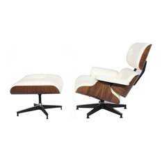 2-Piece Mid-Century Plywood Lounge Chair and Ottoman Set, White/Walnut