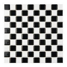 "SomerTile 12""x12"" Tartan Square Checkerboard Porcelain Mosaic Tile"