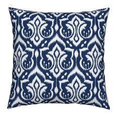Midnight Navy Blue Ikat Throw Pillow, Velvet