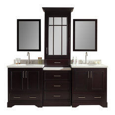 "Ariel Stafford 85"" Double Sink Vanity Set, Espresso Center Medicine Cabinet"