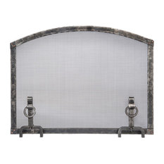 Forged Iron Arched Top Fireplace Screen With Andiron Feet, Small