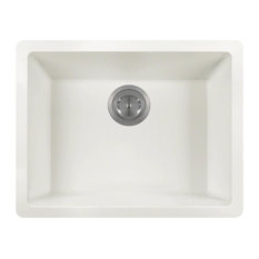 Dual-mount Single Bowl Quartz Kitchen Sink, White, No Additional Accessories
