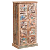 Brantley Mosaic Distressed Reclaimed Wood 10 Drawer Tall Dresser