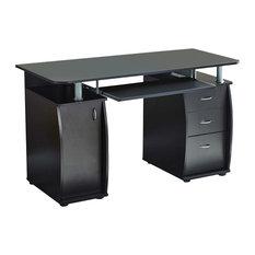 Modern Desk, MDF With Sliding Keyboard Tray, 3-Storage Drawer, 1-Cabinet, Black