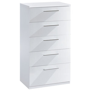 Ward Chest of Drawers, White, 5 Drawers