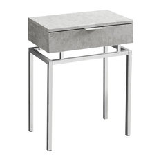 """Accent Table, 24""""H, Gray Cement, Chrome Metal"""