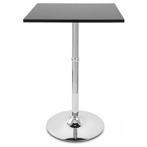 Contemporary Bistro Table with Black Satin Finish Top, Angular Square Shape
