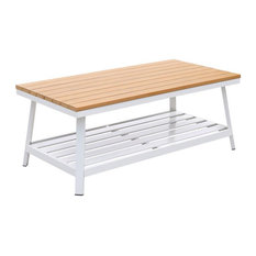 Furniture of America Sourcane Aluminum Patio Coffee Table in White and Oak
