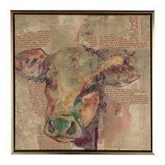 Framed Canvas Art, Cow, 14x14