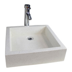 Timbre Bathroom Vessel Sink, Stone, 40 cm