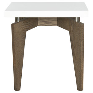Safavieh Moore Lacquer End Table, White and Chocolate