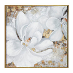 Large Metallic Gold & White Gardenia Acrylic Painting in Gold Frame
