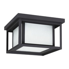 Hunnington 75W 2-Light Outdoor Flush Mount, Black, Etched Seeded Glass