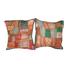 """Mogul Interior - Sari Patchwork Beaded Toss Pillow Shams 16"""", Set of 2 - Decorative Pillows"""
