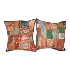 "Mogul Interior - Sari Patchwork Beaded Toss Pillow Shams 16"", Set of 2 - Decorative Pillows"