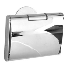 Time Toilet Roll Holder With Cover Polished Chrome