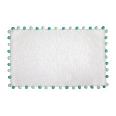"iDesign Pom Pom Cotton Bath Rug, 34""x21"", Bath Mat, White and Blue"