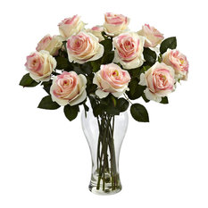 Blooming Roses With Vase, Light Pink