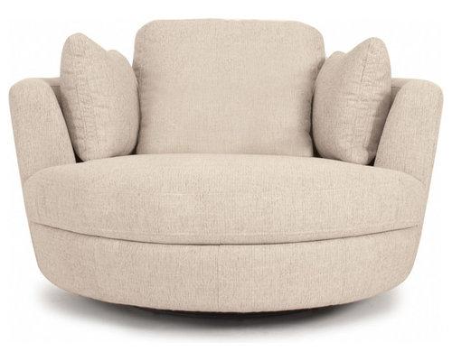Gentil Snuggle® Swivel Chair   Fabric   Chic Orson Almond   Furniture