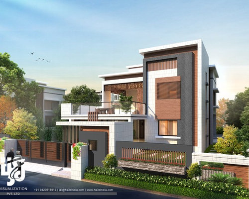 Front Elevation For Bungalows : Modern bungalow exterior elevation design day rendering hs