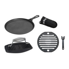 """Jim Beam - 5 Piece Cast Iron Grill, Mitten, Meat Press And 10.5"""" Pan - Grill Tools & Accessories"""