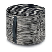 Sakai Cylinder Pouf, Black and White