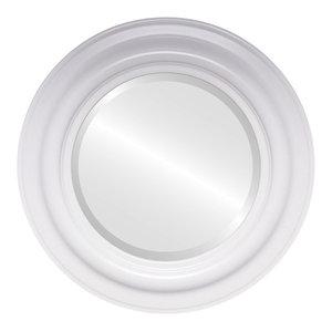Lancaster Framed Round Mirror in Linen White, 23