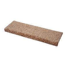 """Safari Beige Bullnose Carpet Stair Treads, Set of 3, 27"""""""