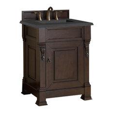 "Brookfield 26"" Single Cabinet, Burnished Mahogany, 2cm Black Rustic Stone Top"