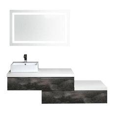 Industrial Wall-Mounted Bathroom Vanity Unit With Sink, 180 cm