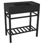 """Scarabeo - Modern Matte Black Ceramic Console Sink and Matte Black Base, Three Hole - This matte black console bathroom sink is a perfect center piece for the modern style bathroom. Featuring a lower towel rack, this console stand is a perfect solution to keep your towels and other accessories tidy. Console stand is made of heavy duty stainless steel in a matte black finish. Beautiful 31.9"""" x 17.4"""" matte black ceramic sink with counter space on both side of the basin."""