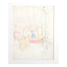 """Dimitrie Berea """"Bedroom Interior, 34"""" Ink And Pastel Drawing"""