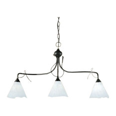 lune 383 Chandelier, Rust Brown and Green, Satin Amber