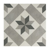 "9.75""x9.75"" Vendimia Star Porcelain Floor and Wall Tile, Grey, Set of 16"