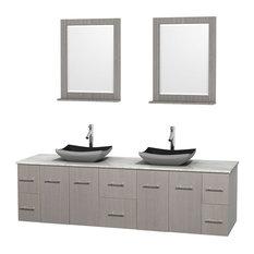 "Centra 80"" Gray Oak Double Vanity, White Carrera Marble Top, Black Granite Sinks"