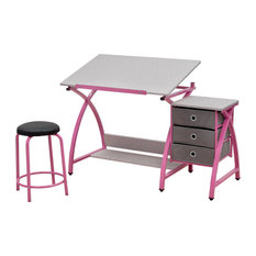 Comet Center With Stool, Pink and Spatter Gray