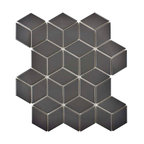 "10.5""x12.13"" Victorian Rhombus Mosaic Floor/Wall Tile, Matte, Set of 10, Gray"