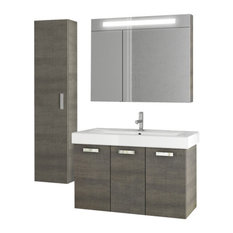 "37"" Gray Oak Bathroom Vanity Set"