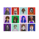 Glass Pets Rock Coasters with Cork Bottom, Music 12 characters