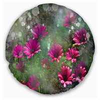 """Red and Pink Flowers on Green Floral Throw Pillow, 20"""" Round"""