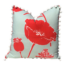 Flower Print Pillow Cover, Red Poppy Cotton Pillow Cover