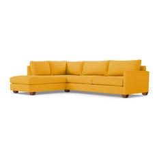Tuxedo 2-Piece Sectional Sofa, Marigold Velvet, Chaise on Left