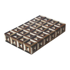 "Luxe Optical Illusion Squares Box 16"" Mid Century"