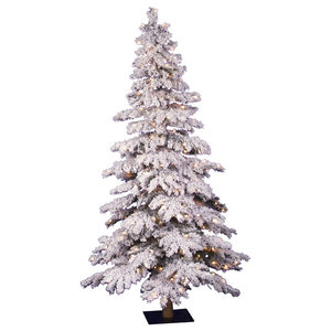 Flocked Spruce Alpine Tree With Clear Lights, 4'