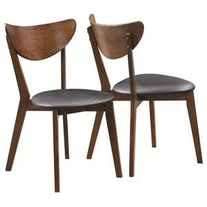 Contemporary Dining Chair in Dark Walnut Finish- Set of 2