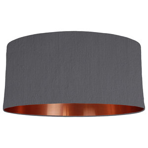 Dark Grey Lampshade With a Copper Mirrored Lining, 60x30 cm