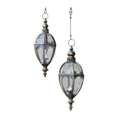 """2-Piece Hanging Iron Lanterns """"Paris 1968"""" With Handmade Chain, Frosted Gold"""