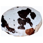 """Foreign Affairs Home Decor - NERO Round Floor Cushion in Black & White Cowhide - Comfortable and stylish NERO round floor cushion. With just the right density and softness the cowhide pillow supports lounging on the floor. Cowhide is impervious to spills and dirt and provides easy maintenance. 18"""" diameter."""