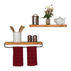 True Floating Wall Shelf and Towel Rack, Walnut