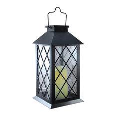 Solar Powered Lantern, Tudor Black With LED Candle